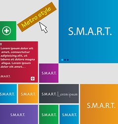 Smart sign icon press button set of colored vector