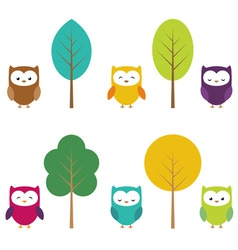 Owls and trees vector