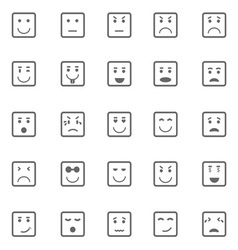 Square face icons on white background vector