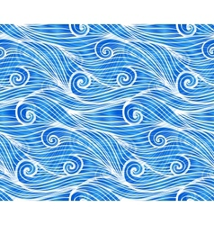 Blue doodle waves seamless pattern vector