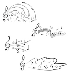 Music treble clef and notes for your design on a vector