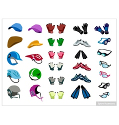 Set of sport accessory on white background vector