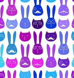 Seamless pattern with cute rabbits and cats vector