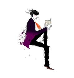 Side view of man reading book vector