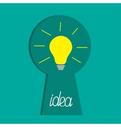 Keyhole and idea light bulb inside flat design vector