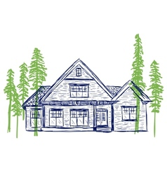 House and trees doodles vector