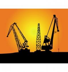 Port cargo cranes vector