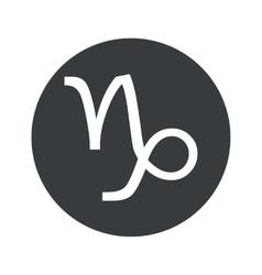 Monochrome round capricorn icon vector