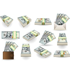 Set of one hundred dollars banknotes vector