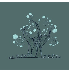 Tree with branches and leaves grass vector