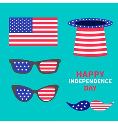 Glasses mustaches hat flag set happy independence vector