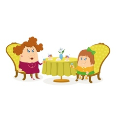 Mother and daughter near table isolated vector