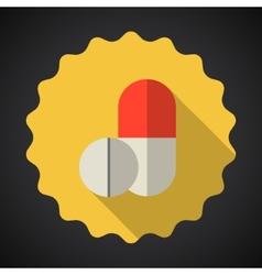 Medical pill flat icon vector