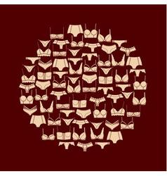 Beige lingerie round composition vector