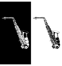 Black and white saxophone vector
