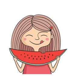 Happy girl eats sweet watermelon vector