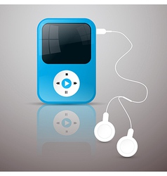 Blue mp3 player with white headphones vector