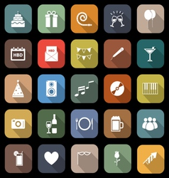 Birthday flat icons with long shadow vector