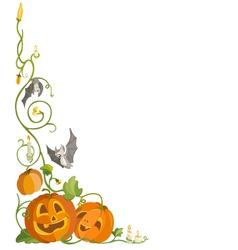 Funny pumpkin and bats vector