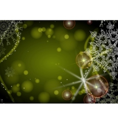 Green background with snowflakes vector