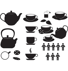 Tea cups and objects vector