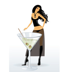 Cocktail girl vector