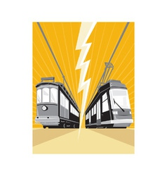 Vintage and modern streetcars vector