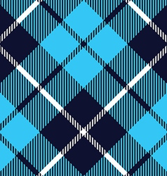 Blue tartan fabric texture diagonal pattern vector