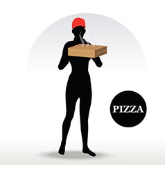 Pizza delivery person vector