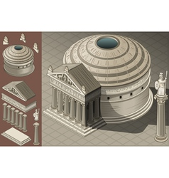 Isometric pantheon temple in roman architecture vector