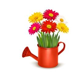 Fresh summer flowers in orange watering can vector