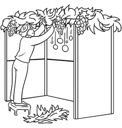 Jewish guy builds sukkah for sukkot coloring page vector