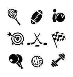 Black and white sporting icons vector