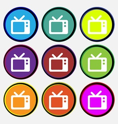 Retro tv icon sign nine multi-colored round vector