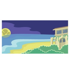 House on the beach moonlight vector