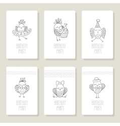 Set cards with cute birds in different actions vector