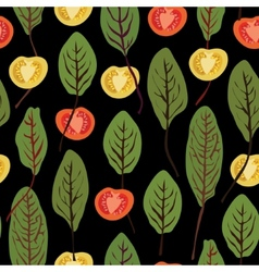 Chard and tomatoes seamless pattern vector