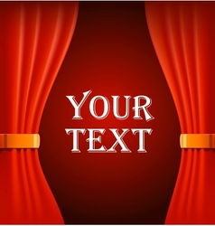 Red curtains with sample text vector