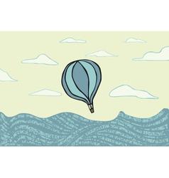 Hot air balloon over the sea vector