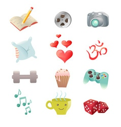 Set of hobby icons showing pastime activities vector