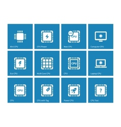 Electronic chip icons on blue background vector