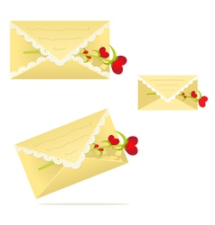 Lace envelope with a flower heart vector
