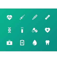 Medical icons on green background vector