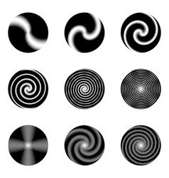 Set of monochrome circle geometric icons vector