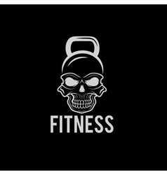 Skull in the form of kettlebell fitness concept vector
