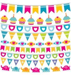 Birthday bunting flags set vector