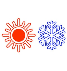 Isolated sun and snowflake vector