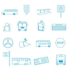Bus transport simple outline icons set eps10 vector