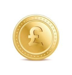 Golden pound sterling coin on the white background vector