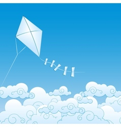 Paper kite up in the clouds vector